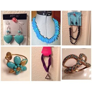 Turquoise colored earrings, necklace, bracelets